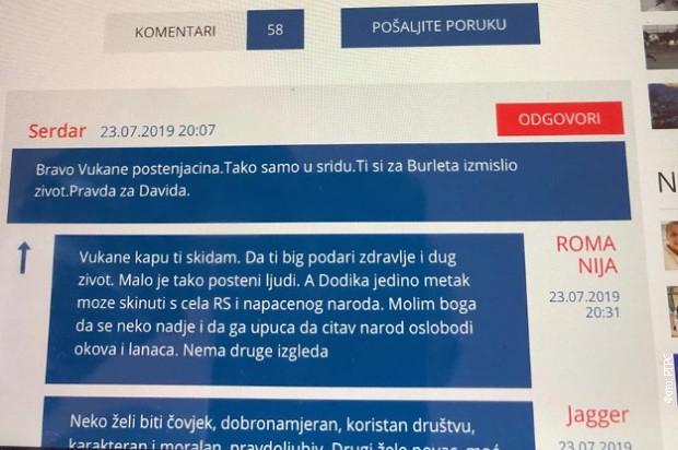 Pretnje smrću Miloradu Dodiku na portalu bijeljinske televizije