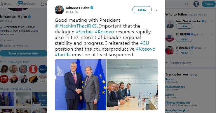 Han Tačiju: Suspendujte kontraproduktivne tarife