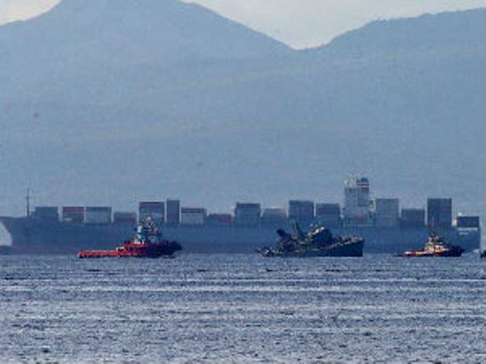 Sudar grčkog ratnog broda i portugalskog teretnjaka