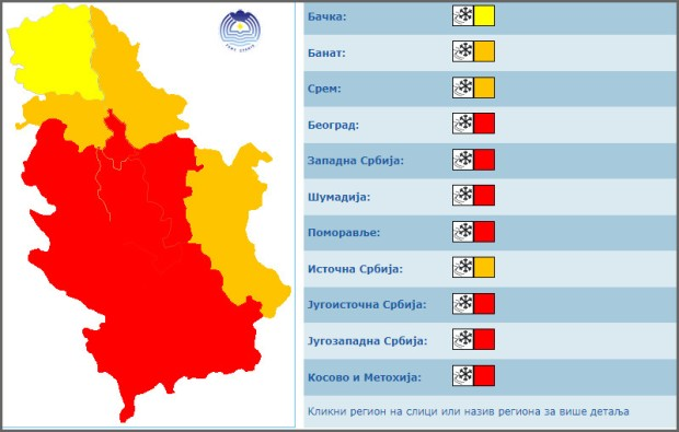 Crveni meteo-alarm u Srbiji zbog snega