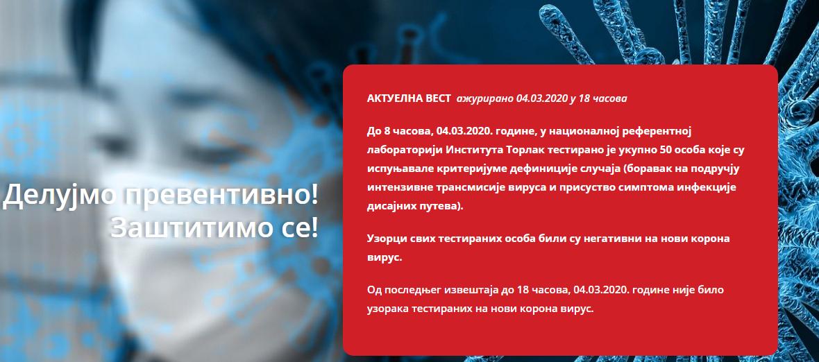 U Srbiji nisu registrovani slučajevi obolevanja od COVID-19