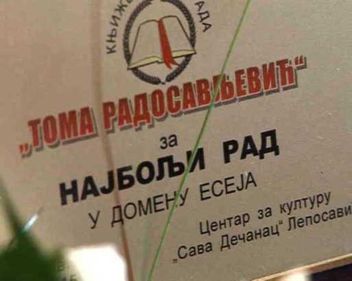 """Raspisan konkurs za književnu nagradu """"Toma Radosavljević"""""""