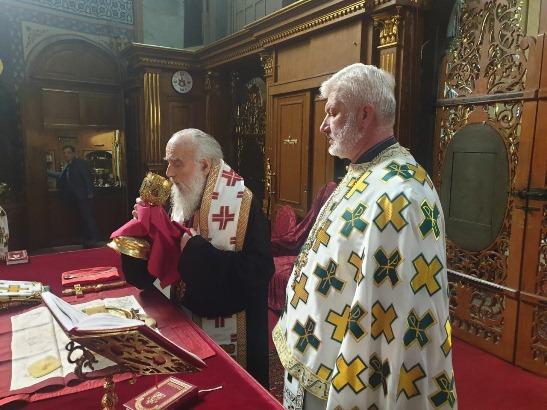 Patrijarh Irinej na liturgiji u Sabornoj crkvi
