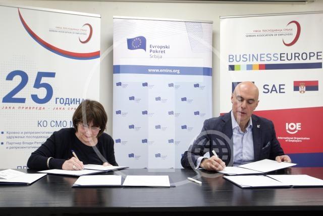 Poslodavci i Evropski pokret potpisali memorandum o saradnji