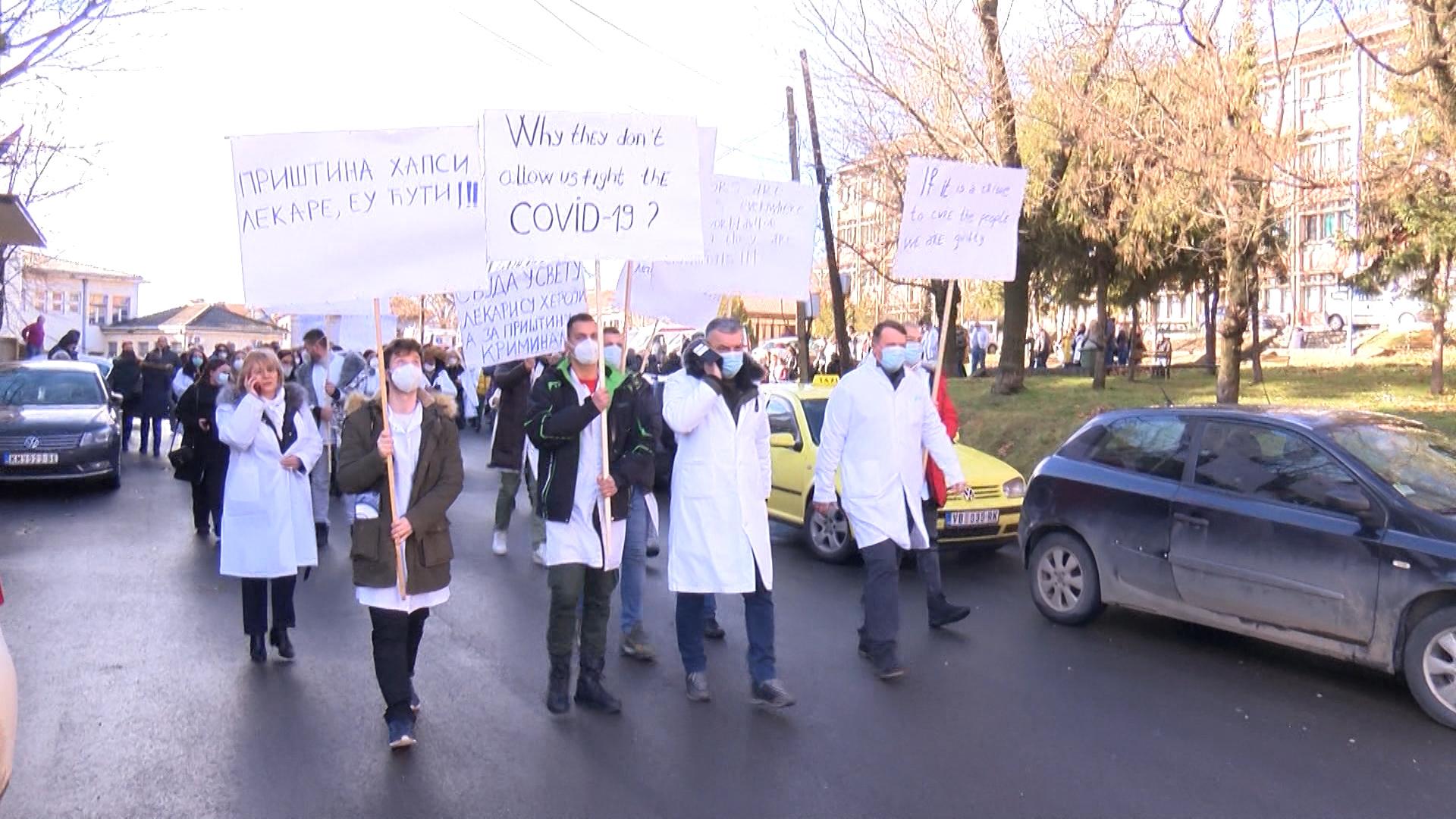 Protestna šetnja lekara i medicinskih radnika Severne Mitrovice i Zvečana