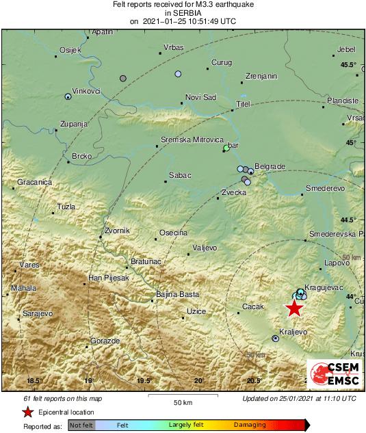 Zemljotres u Kragujevcu